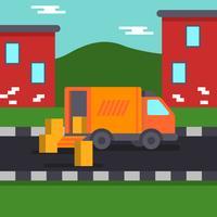 Reubicación casera con la ilustración del vector del camión móvil
