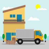 Reubicación de casa con camión en movimiento ilustración vectorial