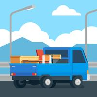 Moving Pick Up Truck Vector