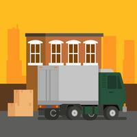 Vetor de carregamento de caminhão em movimento