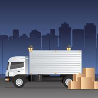 Vetor de caminhão em movimento logístico