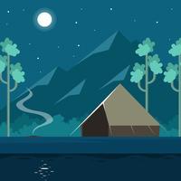 Vecteur de camping nuit pleine lune