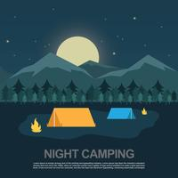 Night Camping Vector