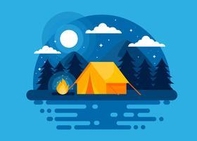 Zomer nacht kamp Vector