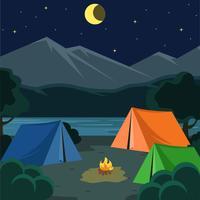 Natt Camping Illustration Vektor