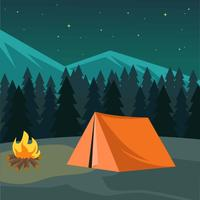 Night Camping Illustration Vector