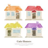 Maisons mignons d'aquarelle de vecteur