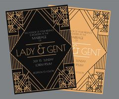 Art Deco Wedding Invitation Vector