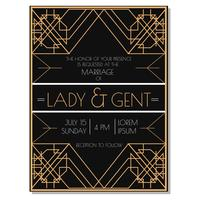 Convite do casamento do art deco