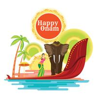 Happy Onam Holiday para el Festival del Sur de la India