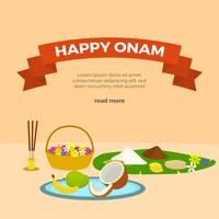 Flat Happy Onam Vector Hälsningar