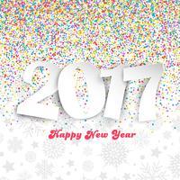 Felice anno nuovo sfondo con coriandoli colorati
