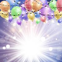 Balloons on a starburst background vector