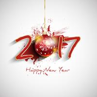 Grunge Happy New Year bauble background