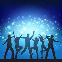 Party people on disco lights background