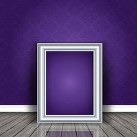 Vintage picture frame leaning against damask wallpaper vector