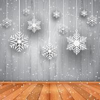 Christmas background of hanging snowflakes