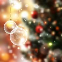 Christmas baubles on defocussed lights background