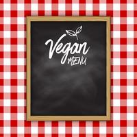 Vegan menu chalkboard on a checked cloth background vector