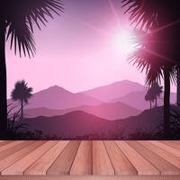 Wooden deck looking out to tropical landscape  vector