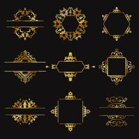 Decorative gold design elements vector