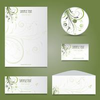 Business stationery layout med blommönster