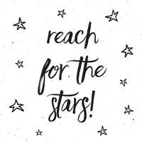 Reach for the stars typography design  vector