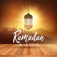 Ramadan landscape background with wooden table vector