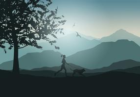 Female jogging with dog  vector