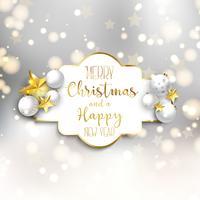 Fondo de navidad y año nuevo con adornos.