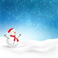 Christmas background with cute snowman vector