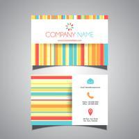 Diseño de tarjeta de visita colorida a rayas