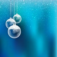 Christmas baubles with snow vector
