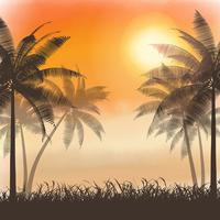 Silhouettes of palm trees on watercolor sunset vector