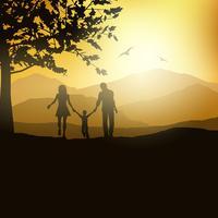 Familj som går på landet