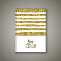 Book cover with gold glittery design