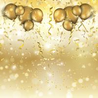 Gold balloons and confetti background  vector