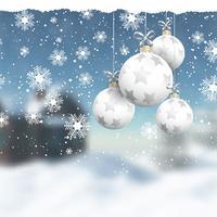 Adornos navideños en un paisaje de invierno desenfocado.