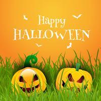 Gelukkige Halloween-achtergrond met pompoenen