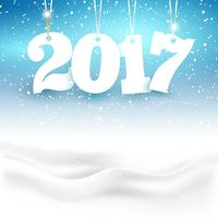 Feliz Ano Novo fundo com neve