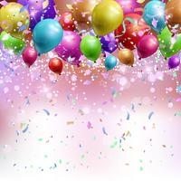 Balloons, confetti and streamers background  vector