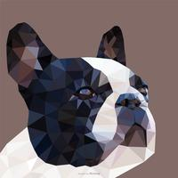 Portrait de bouledogue français abstrait en conception de vecteur Low Poly