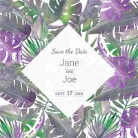 Cute Watercolor Tropical Wreath With Leaves And Save The Date Background