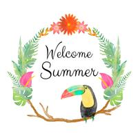 Tropical Wreath With Toucan And Quote