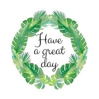 Watercor Wreath Tropical Leaves With Quote