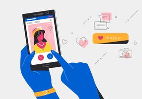 Online Dating Apps Getting Match With a Young Woman Vector Illustration