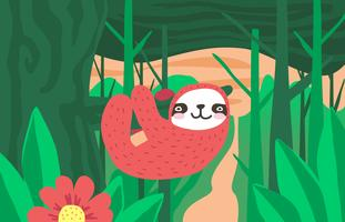 Sloth Jungle Paysage Illustration Vector