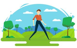 Vector Character Illustration with Landscape