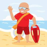 Happy Lifeguard Vector