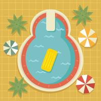 Vintage Swimming Pool Top View Vector